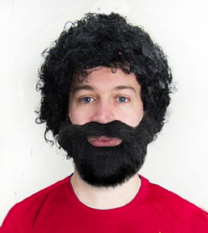 Mo Salah Afro Wig & Beard Football Fancy Dress